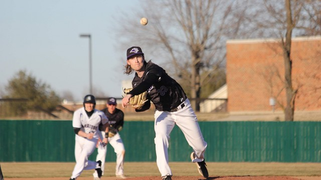 SOUTHWEST BAPTIST UNIVERSITY PITCHER CORBIN REESE rocks and fires during a game earlier this spring. The Lincoln graduate is having to cope with the canceling of the baseball season due to the Coronavirus outbreak.