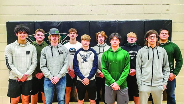 OZARK HIGHLANDS CONFERENCE All-Conference teams were released to the media on Monday and the Wildcats placed 10 different players at 13 positions on the lists.  Those players include: Front row (L to R): Jack Gardner, Zach Sharp, Nick Bagley, Justin Martin and Cameron Seevers.  Back row (L to R): Garrett McGann, Brady Slavens, James Kellner, Logan Strunk and Tim Burkhart.