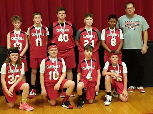 THE LINCOLN CARDINALS WON the sixth grade boys Kaysinger Tournament held at Lincoln last week. On front row are Turner Kreisler, Chance Koll, Breden Mathis  and Cade Rutherford . Back row - Riley Sanders, Dawson Parrott,  Ben Eckhoff, Ethan Goosen, Anthony Srader and Coach Sanders. Not pictured- John  Cramer.