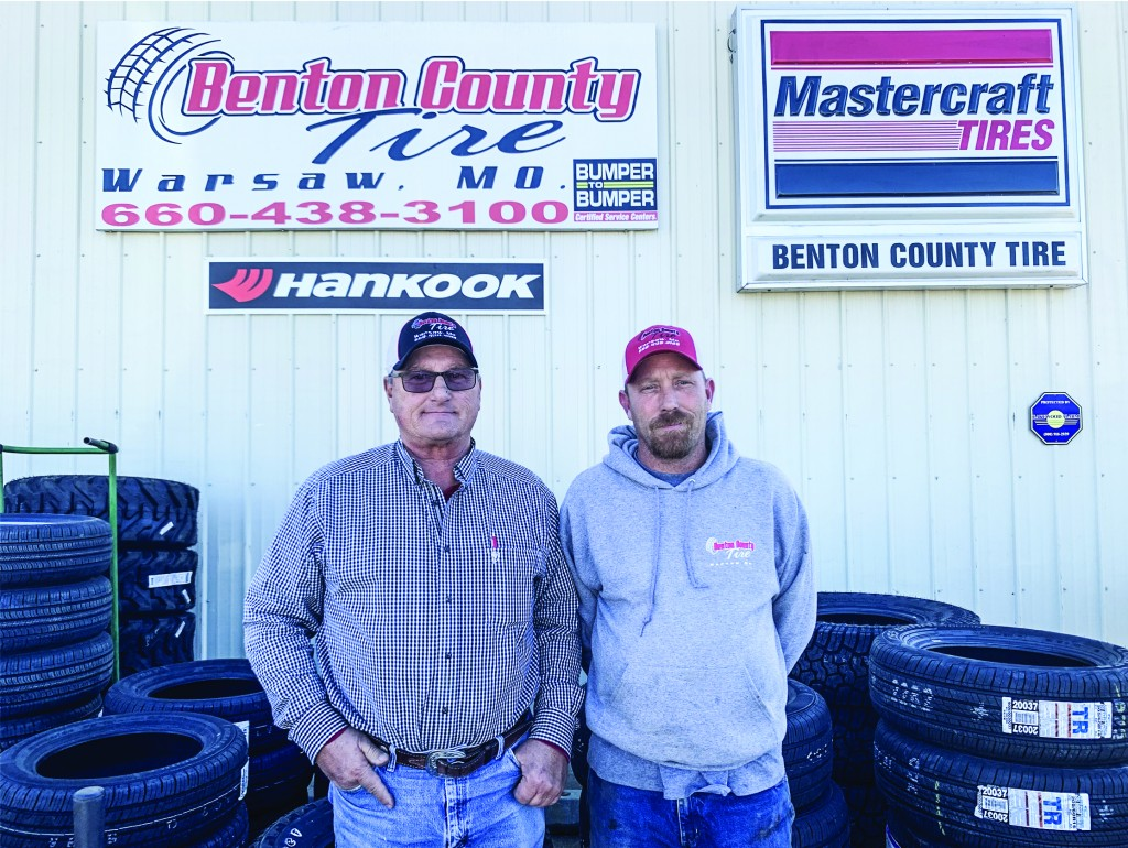A MAIN STREET MAINSTAY, Benton County Tire recently marked 25 years in business. Proprietors Steve and Tina Pickens plan to transition ownership to their son-in-law Shawn Adair and daughter Stephanie in the future