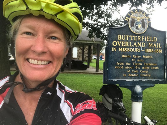 COMPLETING THE FIRST OFFICIAL RIDE of Butterfield Stage Experience was Warsaw resident Jenn Bradshaw.