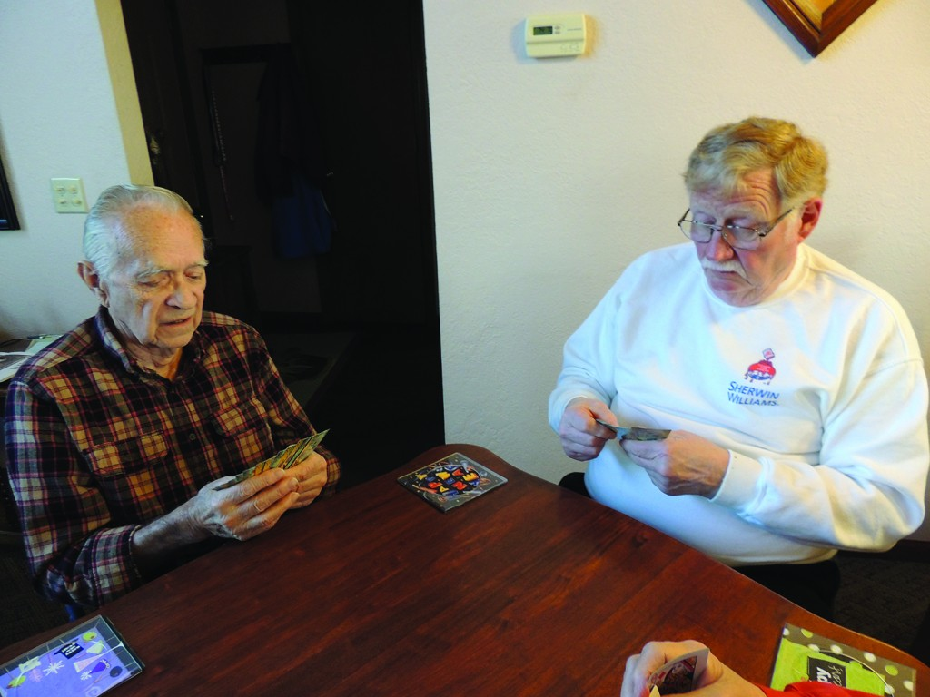 STRESS ANXIETY AND DEPRESSION can be particularly prevalent during winter months. Experts agree that one way to beat these symptoms is to stay active. Gene Beauchamp and Ray Krall are part of a Monday afternoon bridge club that keeps them on the go.