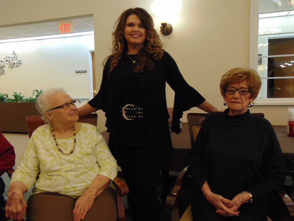 DOING A MEET A GREET before her performance at Lincoln Community Care Center, Tammy Joplin met with Ruth Proctor and Wanda Honea. The Branson based singer is a cousin of the late Janis Joplin.
