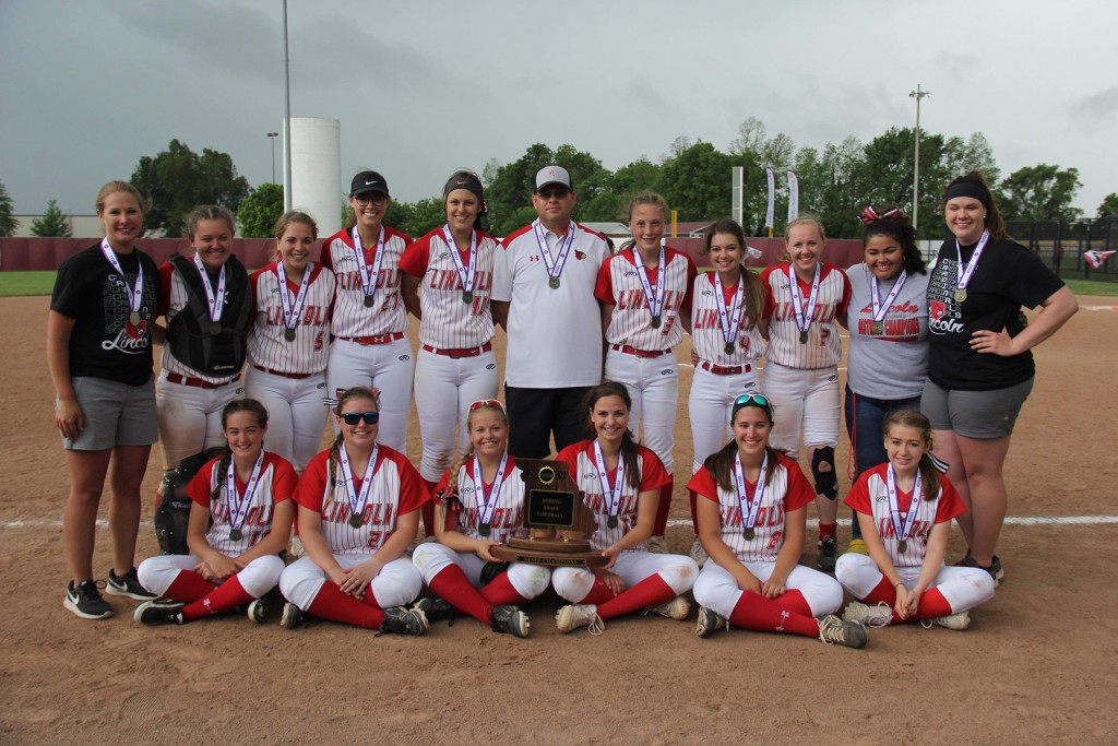 THE LINCOLN LADY CARDINALS WON the first Lincoln ever state championship in Springfield MO on Saturday.   Pictured on front row are Riley Siebert, T.J. Henderson, Genesis Smith, Aleah Paxton, Lyndsey Koll and Riley Warren.<br />Back- Coach Larimore, Haley Mackey, Cadyn Paxton, Chloe Reese, Haley Ebeling, Coach Chris Sanders, Jenna Vandaveer, Alexis Harms, Jordan Young, Manager Kristin Worthley and Coach Robey.