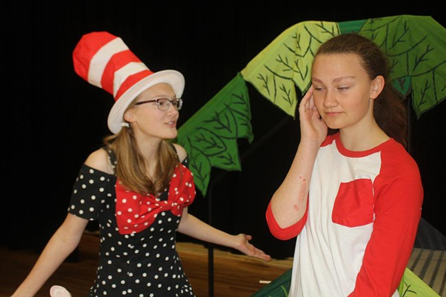 TAKING THE STAGE at Warsaw High School this Friday is Seussical The Musical, starring Madeline Schockmann as The Cat In The Hat and Ariel Givens as Jojo.