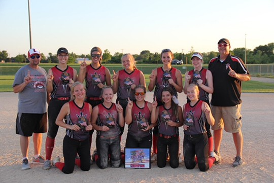 THEY KEEP ON WINNING. The Sun Devils have played in two tournaments this month.  They took 2nd place in the Father's Day Dust and Diamonds Tourney a couple weeks ago then they took 1st Place in the Freedom Festival Tourney this weekend. The team is made up of players of players from Cole Camp, Green Ridge and Lincoln. Front row-Sydney Campbell, Jordan Young Cadyn Paxton Lexi Harms and Kailyn Hoos. Back row-Coach Josh Young,Chloe Reese, Haley  Ebeling, Emily Dove, Aleah Paxton and Rakaylah Holt.