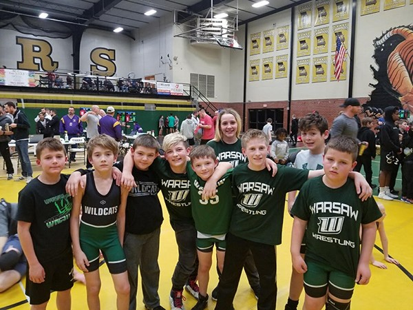 THE WARSAW WILDCATS YOUTH WRESTLING Club advanced 8 of 10 wrestlers from this past weekend's district tournament.  Those 8 wrestlers will now move on to regional competition this Saturday in Higginsville.  Wrestlers from the club include, front row (L to R): Gabe Noland, Sean Reinertsen, Hoyt Miller, Urijah Phillips, Easton Bagley, Jayce Estes and Boston Jackman.  Back row (L to R): Kadence Pittman-Page and John Wilson.  Not pictured: Carson Kirk.