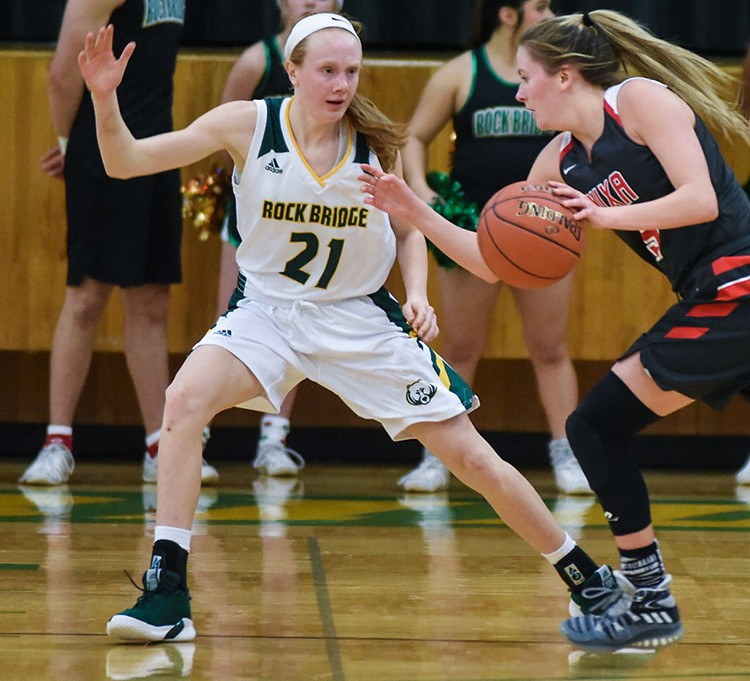 AVERI KROENKE grew up in Lincoln and moved up to play at Rock Bridge last year. This little freshman has taken the basketball world by storm.