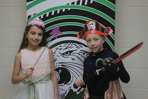PARTY WITH A PURPOSE, R-IX North Elementary will be hosting their annual school carnival on March 7. Getting in the spirit for the big event, Maci Reimund and Connor Roberts donned costumes on Tuesday.