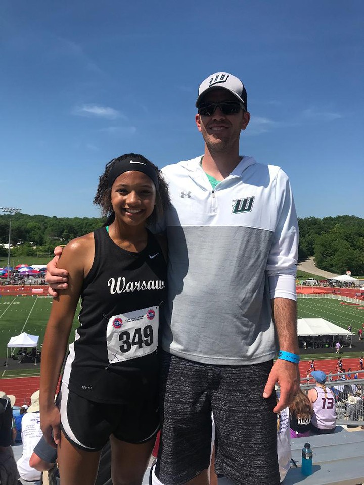 KYA SCHEPKER and Warsaw track coach Cody Morgan represented Warsaw High in Jefferson City for the state track meet.