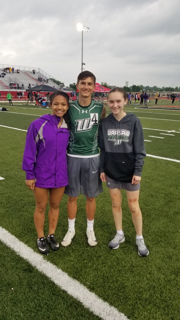 THE BEST OF THE BEST. Warsaw's Kya Schepker, Parker Love and Alyssa Alcantara performed well at the State Track Meet last Saturday at Missouri University. Love pulled off the rare feat of medaling in four events.
