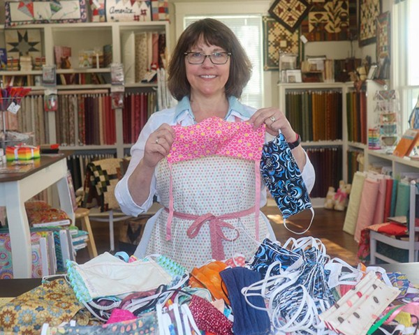 LENDING A HAND, Amy Senatore and local  quilters are making hundreds of masks for medical facilities that include the Health Department and Bothwell Hospital. City's Edge Quilt Shop in Warsaw is a designated drop off location.
