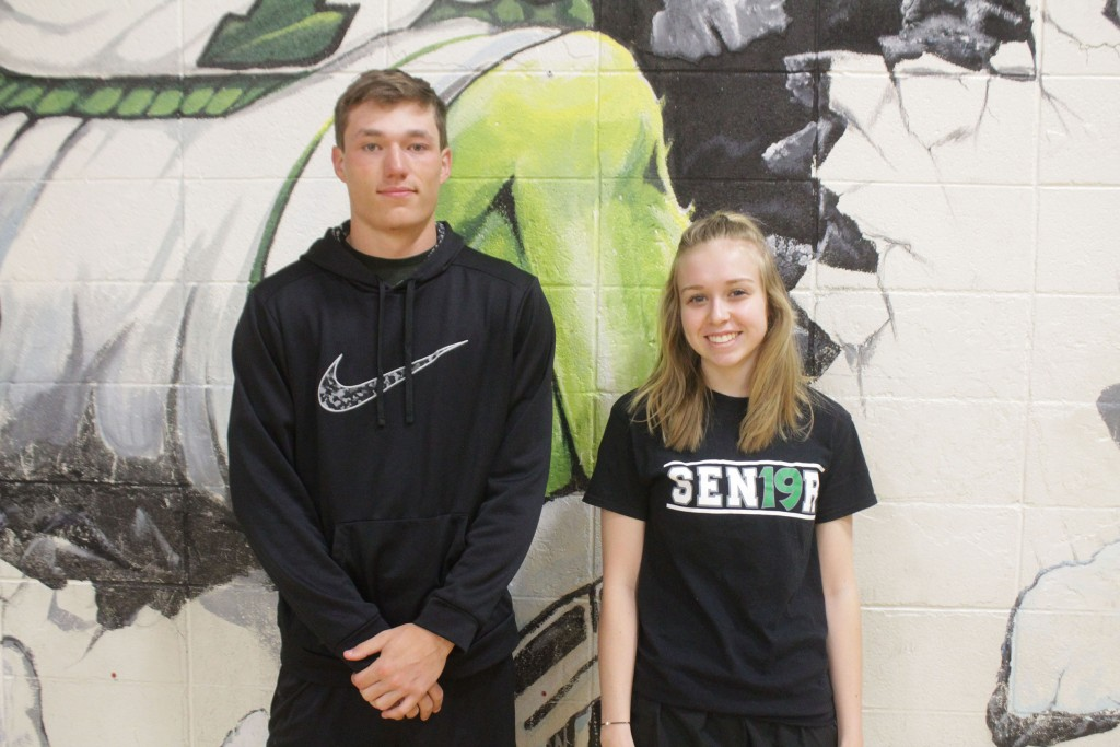 Seniors Matt Luebbert and Jessie Glenn were awarded the highest athletic honors at WHS as they received the Jerry Lumpe and the Jackie Downing awards last Wednesday at WHS. The awards are given in partnership with the school and the community based on character and athletic ability.