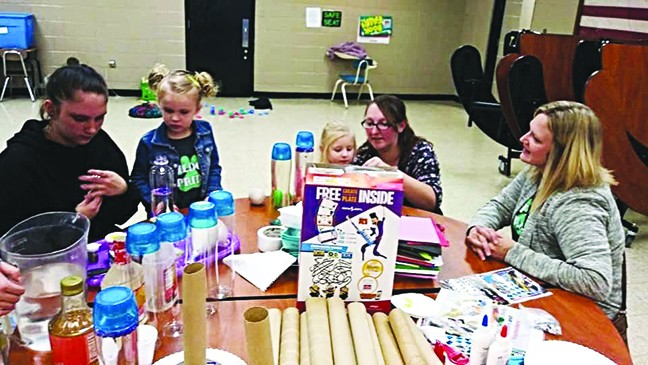 MAKING TOYS FROM RECYCLED TRASH was part of the program during a group connection meeting hosted by Parents As Teachers at R-IX North.  Participating were Breanna Shaw, Bellamy Petet, Hailey Kimberlin and Raina Crabtree.