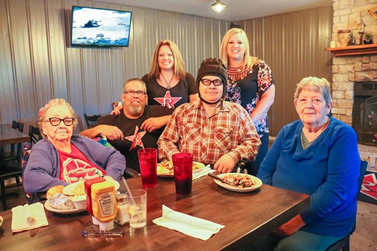 AN INNOVATIVE AND PHILANTRHOPIC program is underway at R-Bar in Warsaw, where owners Kevin Lapitus and Stacey Smalley host a monthly lunch for Warsaw Health & Rehabilitation residents. Recent attendees included Lela Plumlee, Doug Jones, Admission Coordinator Reba Slavens and Joyce Oldham.