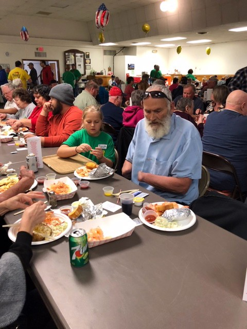 A MASSIVE CROWD assembled at the Knights of Columbus Hall in Warsaw for the organizations much anticipated annual Shrimp Boil. The event was held on Saturday.