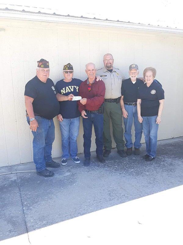 (Pictured L-R) VFW CDR Royce Kelb, VFW Paul Kellner, F-BSCO Bill Reece, Sheriff Eric Knox, F-BSCO President Dan Porterfield, and F-BSCO Kathy Reece.